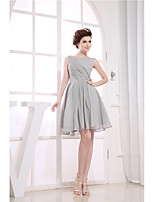 Cocktail Party Dress-Silver A-line Jewel Knee-length Chiffon