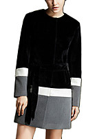 Women's Color Block Black Coat,Simple Long Sleeve Wool