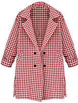 Women's Plaid Red / Black Trench Coat,Simple ½ Length Sleeve Polyester