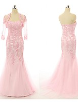 Formal Evening Dress-Candy Pink Trumpet/Mermaid Sweetheart Floor-length Lace / Tulle