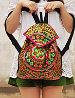 Women Canvas / Acrylic Barrel Backpack / Travel Bag-Green / Red / Multi-color