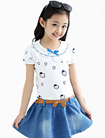 Girl's Blue Dress,Cartoon Cotton Summer