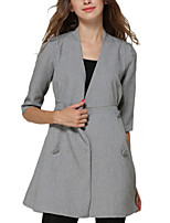 Women's Solid Gray Trench Coat,Simple / Street chic ½ Length Sleeve Polyester