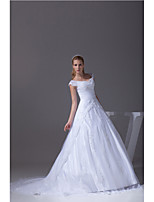 A-line Wedding Dress-White Chapel Train V-neck Satin / Tulle