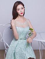 Knee-length  Bridesmaid Dress-Clover Ball Gown Jewel