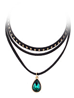 Teardrop-shaped Solid Color Rivet Punk Multilayer  Clavicle Chain Necklaces