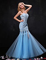 Formal Evening Dress-Sky Blue Trumpet/Mermaid Sweetheart Floor-length Lace / Tulle