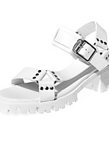 Women's Shoes Chunky Heel Platform / Round Toe / Open Toe Sandals Dress / Casual Black / White