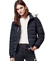 Women's Solid Blue Padded Coat,Simple Hooded Long Sleeve