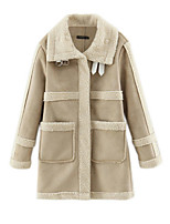 Women's Solid Beige Coat,Simple Long Sleeve Polyester