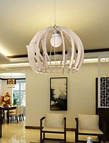 12W Vintage LED Creative Home Cage Bird Wood Chandeliers Living Room / Bedroom