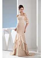 Formal Evening Dress Trumpet / Mermaid Bateau Court Train Chiffon with Appliques / Side Draping