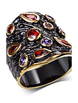 Fashionable Multi Colors Party Rings Brand New Black Gold Plated Environmental Cubic Zircon Ring