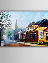 Hand-Painted Landscape / People / Abstract Landscape Modern / European Style Oil Painting , Canvas One Panel