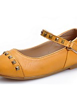 Girls' Shoes Dress / Casual Mary Jane Leather Flats Black / Yellow / Tan
