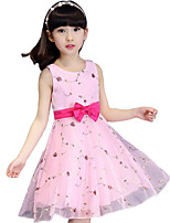 Girl's Pink / White / Beige Dress Polyester Summer