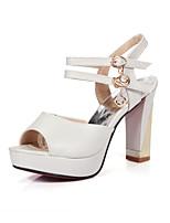 Women's Shoes Chunky Heel Peep Toe / Open Toe Sandals Dress Black / Pink / White / Beige