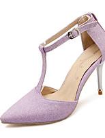 Scarpe Donna-Scarpe col tacco-Formale-Tacchi / A punta-A stiletto-Finta pelle-Nero / Viola / Argento / Dorato