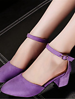 Women's Shoes Fleece Chunky Heel Heels Heels Office & Career / Dress / Casual Black / Purple / Red