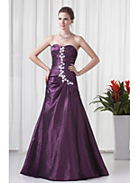 Formal Evening Dress A-line Sweetheart Floor-length Taffeta with Appliques / Side Draping