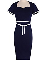 Women's Simple Solid Bodycon Dress,Boat Neck Above Knee Cotton