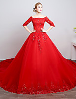 Ball Gown Wedding Dress-Ruby Cathedral Train Off-the-shoulder Lace / Satin / Tulle