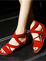 Damenschuhe-Sandalen-Büro / Kleid / Lässig-Samt-Keilabsatz-Absätze-Schwarz / Rot / Mandelfarben
