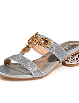 Women's Shoes Chunky Heel Round Toe Sandals Dress / Casual Silver / Gold
