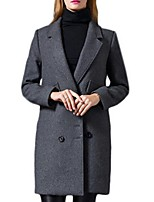 Women's Solid Gray Pea Coats,Plus Size Long Sleeve Polyester