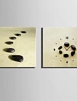 E-HOME®Black Stones Clock in Canvas 2pcs