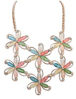 Statement Colorful Flower Rhinestone Necklace Women Anniversary Wedding Birthday Gifts