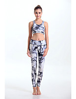 Women's Fashion Ink Style Pattern High Elasticity Yoga Clothing Sets/Suits