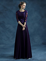 Formal Evening Dress-Grape A-line Jewel Floor-length Chiffon / Satin