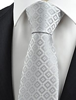 Silver Gradient Checked Men's Tie Formal Suit Necktie Wedding Holiday Gift KT0073