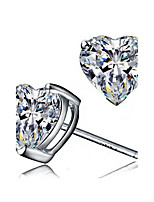 2016 HOT Sale Real 925 Sterling Silver Crystal Heart Stud Earrings For Women Korean Fashion Jewelry