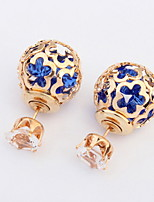 Hot Sale Alloy Stud Earrings Wedding Jewelry Women's Fashion Hollow Ball Design Double Faced Crystal Earrings Wholesale
