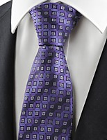 Purple Bronze Coin Checked Antique JACQUARD Men's Tie Necktie Holiday Gift KT0080