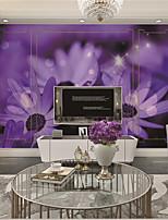 Décoration artistique Papier peint Contemporain Revêtement,Autre A Large Mural Wallpaper Warm Purple Flowers