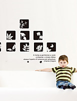 Wall Stickers Wall Decals, DIY Black Square Flowers & Words PVC Wall Sticker