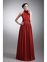 Formal Evening Dress A-line Halter Floor-length Chiffon with Draping / Flower(s) / Side Draping