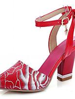 Chaussures Femme-Extérieure / Bureau & Travail / Habillé-Noir / Rouge / Blanc-Gros Talon-Talons-Talons-Similicuir