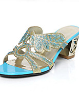 Women's Shoes Glitter Chunky Heel Heels Sandals Wedding / Party & Evening / Athletic / Dress / Casual Blue / Green