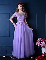Formal Evening Dress-Ruby / Lilac A-line Scoop Floor-length Lace / Satin / Tulle