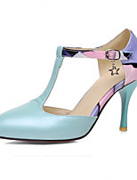 Women's Shoes Leatherette Stiletto Heel Heels Heels Office & Career / Dress / Casual Blue / Pink / White / Beige
