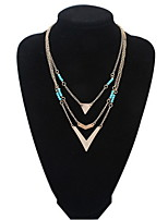 Multi-Layers 3 Layer Necklaces Round Blue Beads and Gold Alloy Triangle Pendant Long Necklace for Women