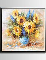 Abstrato / Floral/Botânico Pinturas a Óleo Emolduradas 73x73cm Wall Art,Madeira