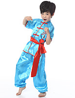 Performance Outfits Children's Performance Satin Sash/Ribbon 3 Pieces Blue / White / Yellow Folk Dance Short Sleeve