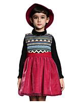 Robe Fille de Hiver Coton Bleu / Rouge