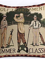 Linen Pillow Cover/Case ,  Woven Traditional/Classic Golf Tournament Feature