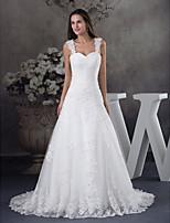 A-line Wedding Dress-Ivory Court Train Straps Satin / Tulle